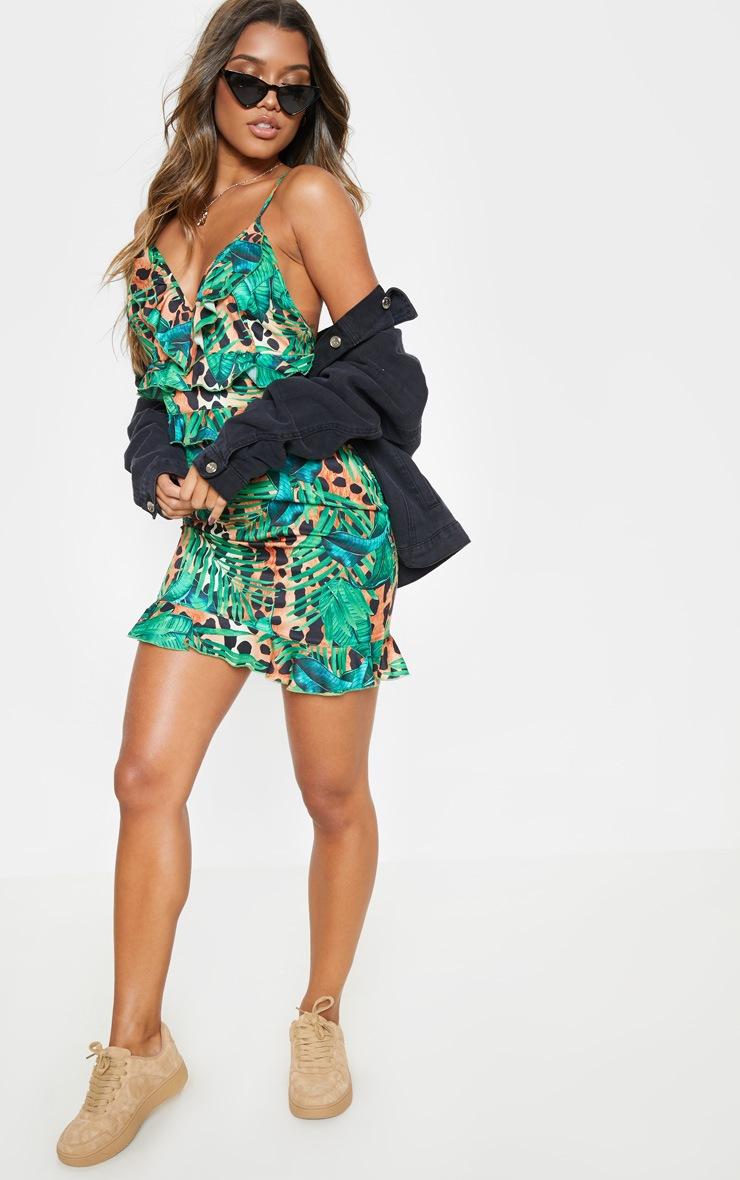 942e147e51f Green Tropical Print Ruffle Cami Bodycon Dress