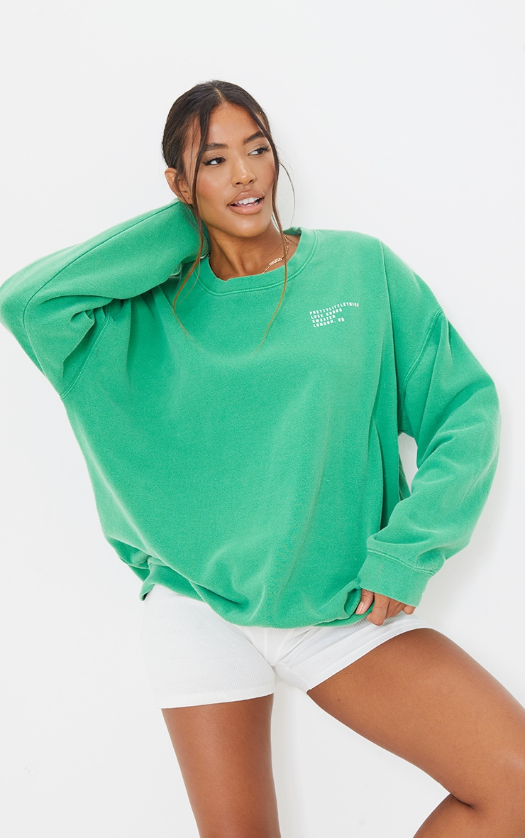 PRETTYLITTLETHING Green Luxe Good Small Print Text Sweat 1