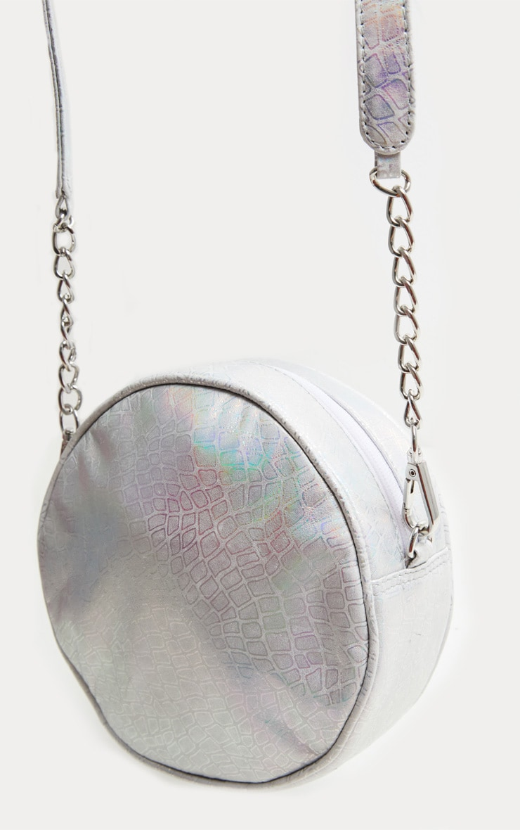 Silver Real Leather Iridescent Round Cross Body Bag 2