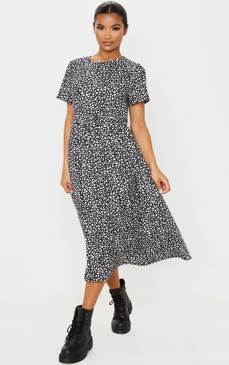 Black Dalmatian Print Short Sleeve Midi Smock Dress 4