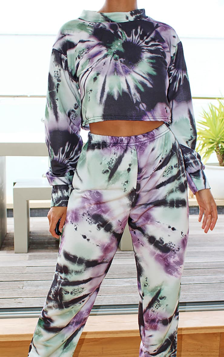 Petite Green Tie Dye Cropped Sweat and Jogger Set 4