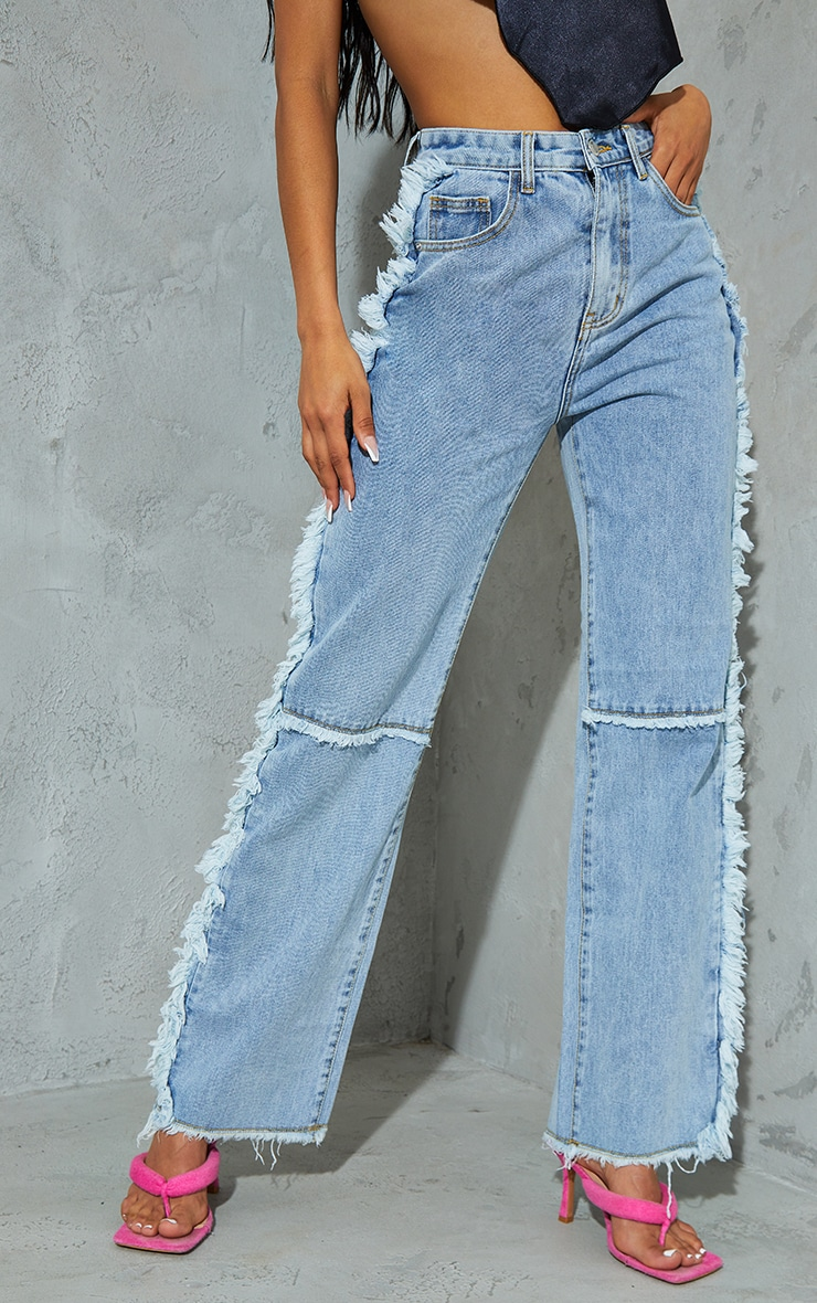 Light Blue Wash Wide Leg Seam Detail Jeans 2