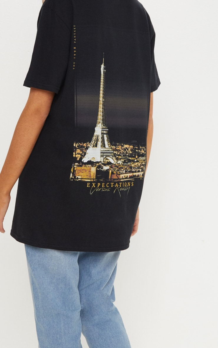 Black Paris Print Oversized T shirt 5