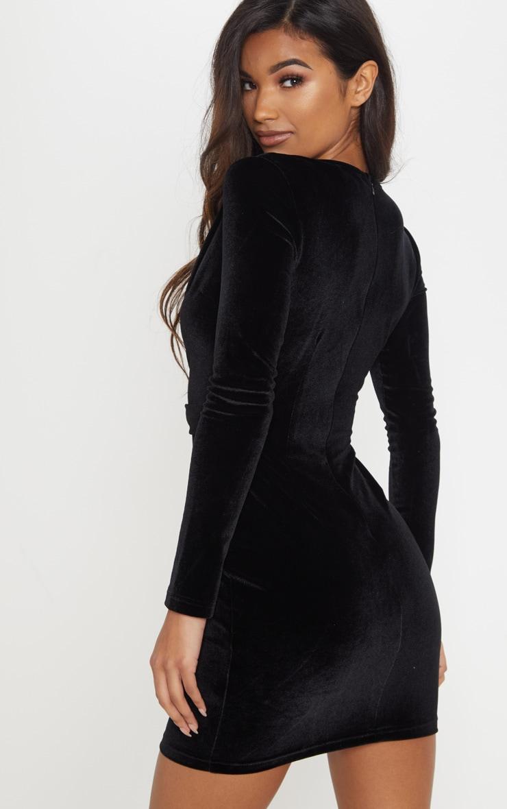 Black Velvet Gold Button Buckle Detail Blazer Dress 2