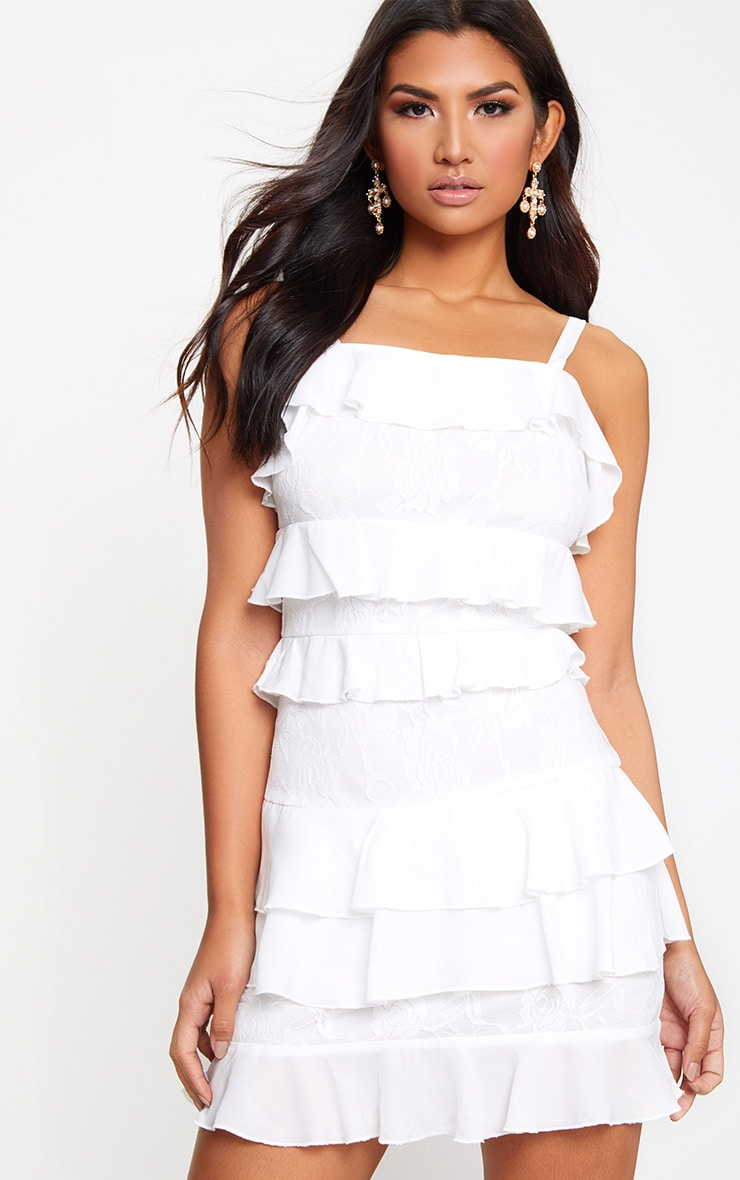 White Lace Ruffle Detail Bodycon Dress 1