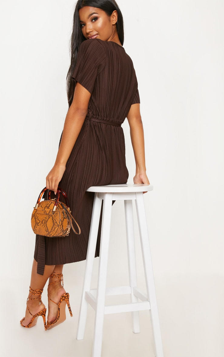 Chocolate Pleated Midi Dress 2