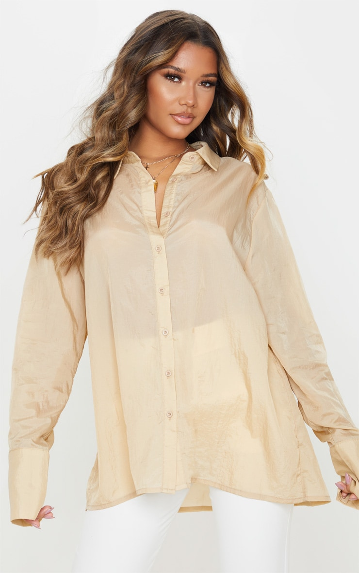 Sand Sheer Oversized Cuff Shirt 1