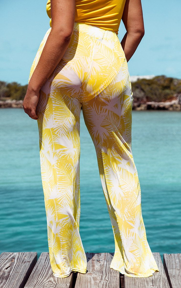 Plus Bright Yellow Print Mesh Flare Pants 4