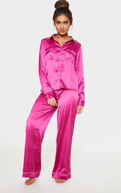 Fuchsia Satin Wide Leg Pyjama Set 198a61080091