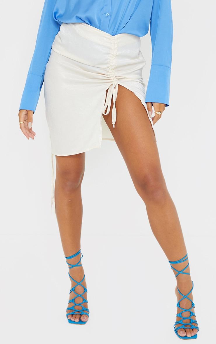 Cream Hammered Satin Ruched Detail Mini Skirt 2