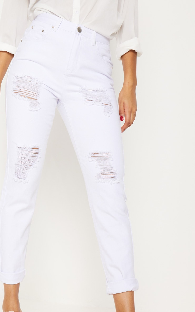 White Extreme Ripped Turn Up Mom Jean 6