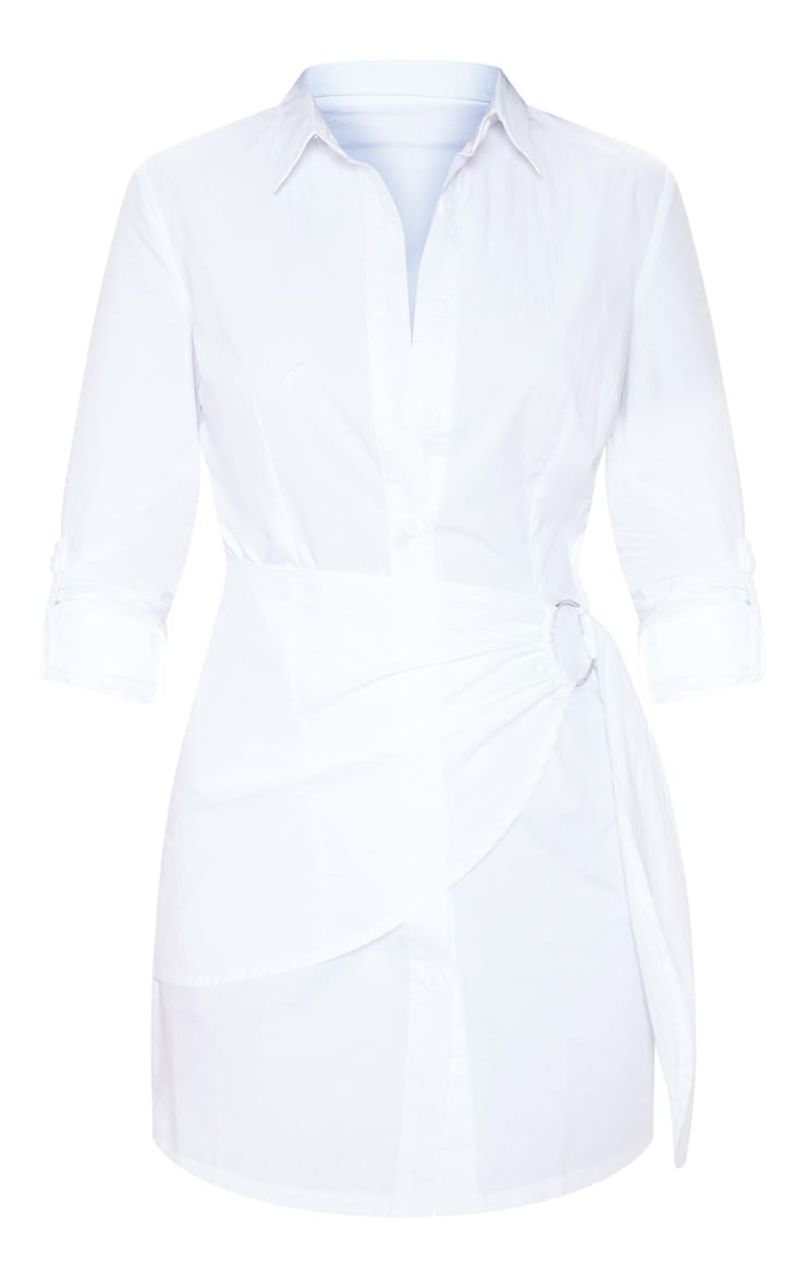 White Ring Detail Wrap Shirt Dress 3