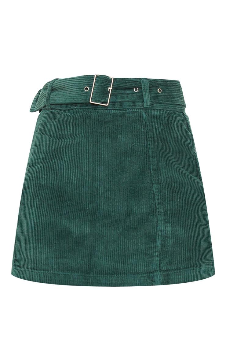 Forest Green Cord Belted Denim Mini Skirt 4