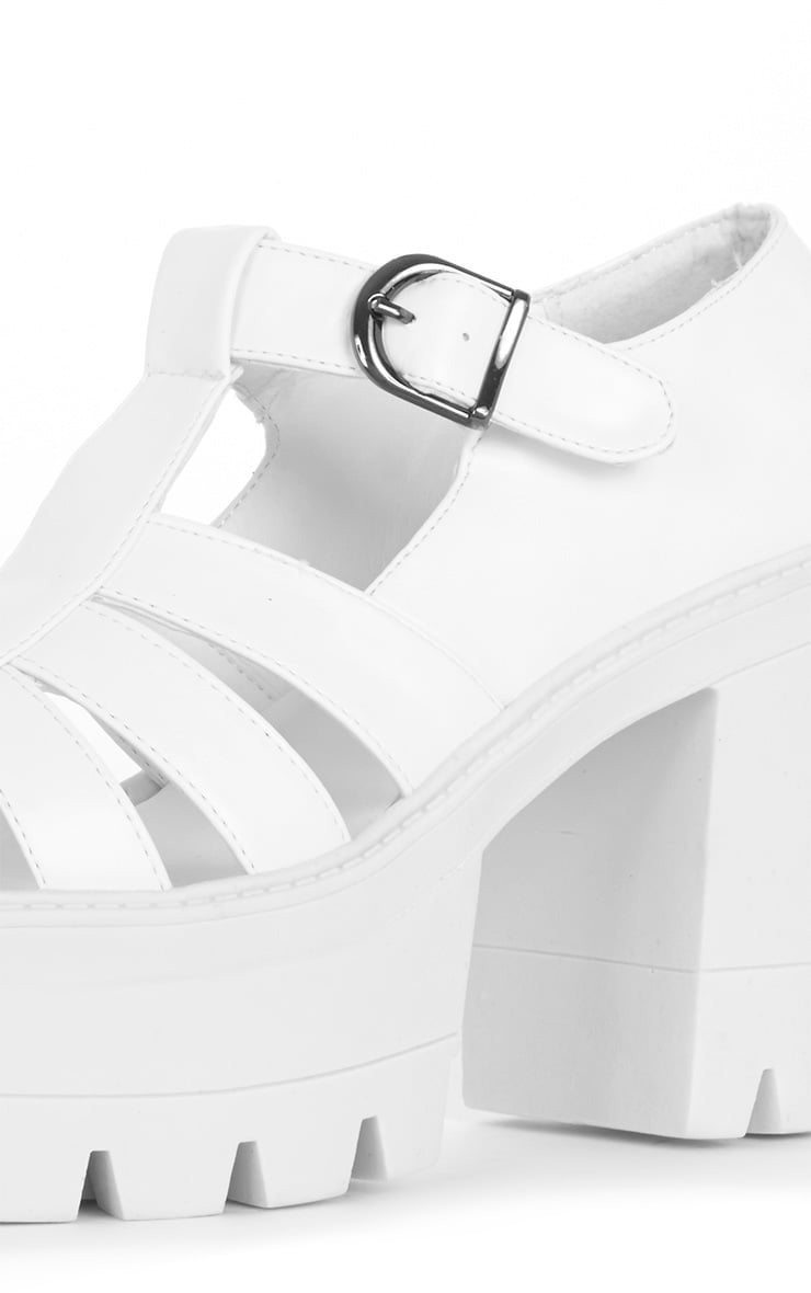 Jamiya White Leather Cut Out Heeled Sandals 4