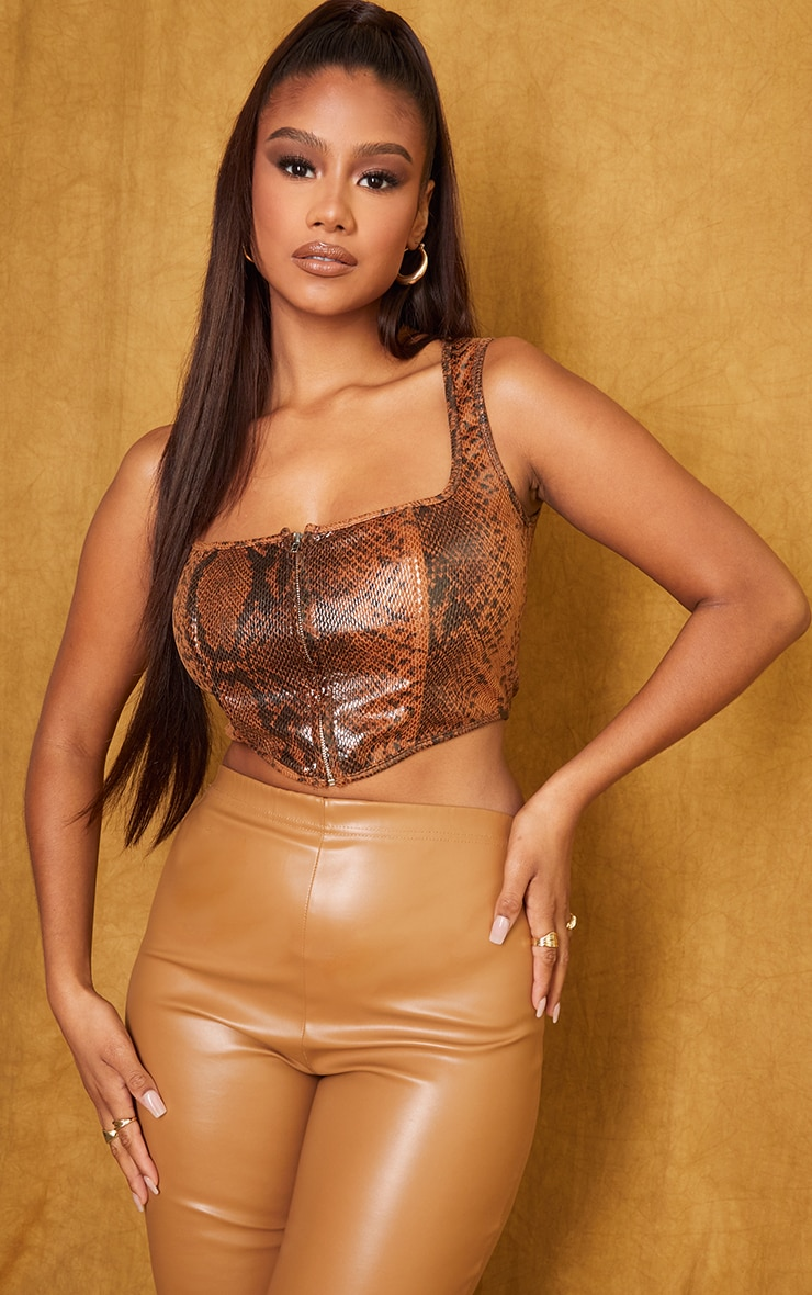 Tan Snake Faux Leather Zip Front Square Neck Crop Corset 1