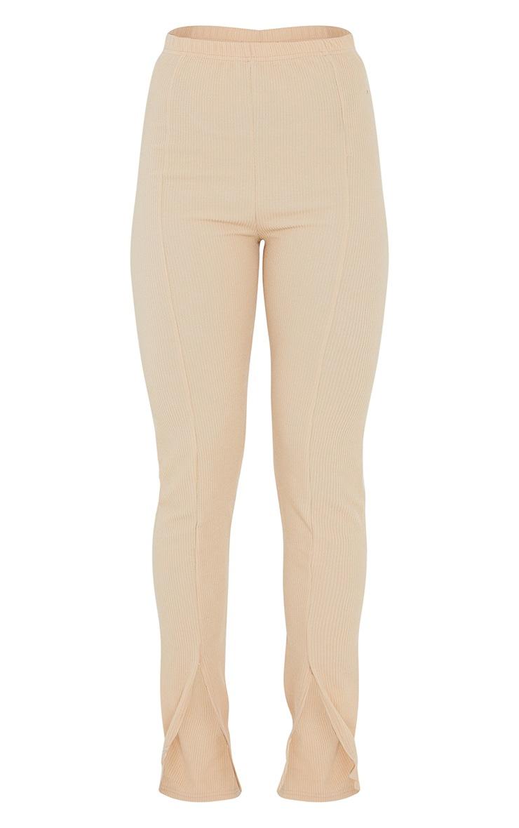 Stone Textured Rib Split Hem Skinny Trousers 5