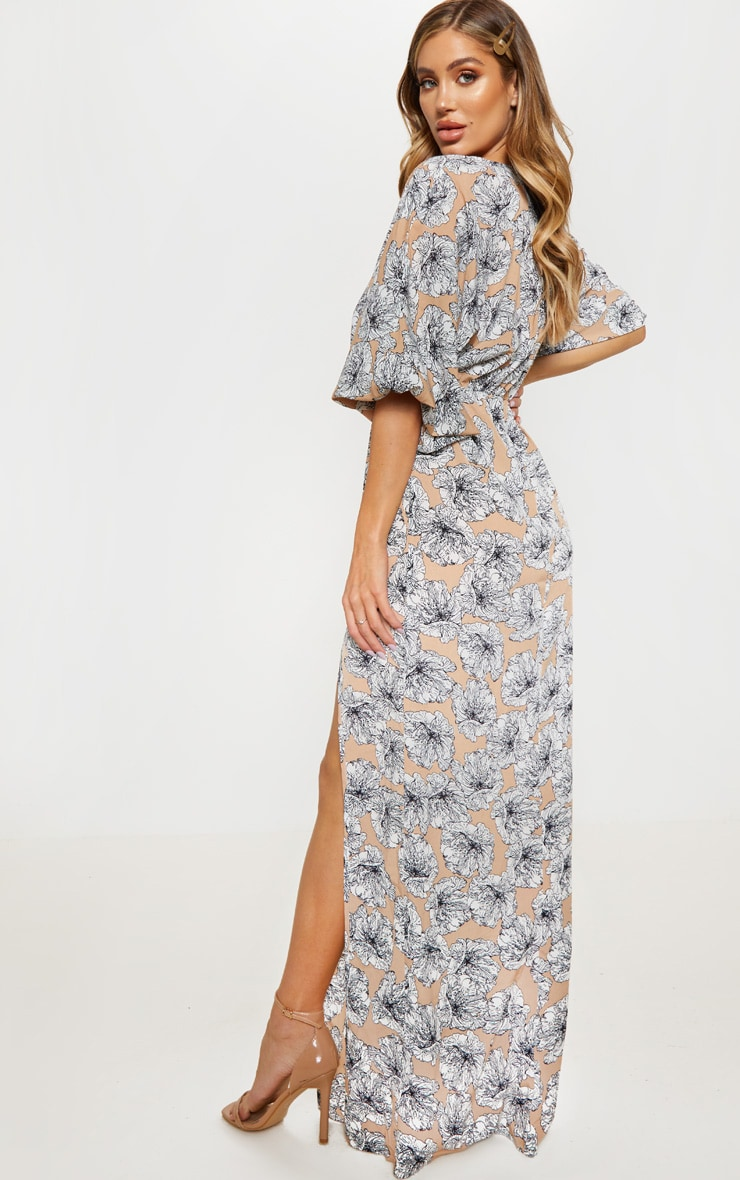 Nude Floral Print Batwing Sleeve Split Leg Maxi Dress 2
