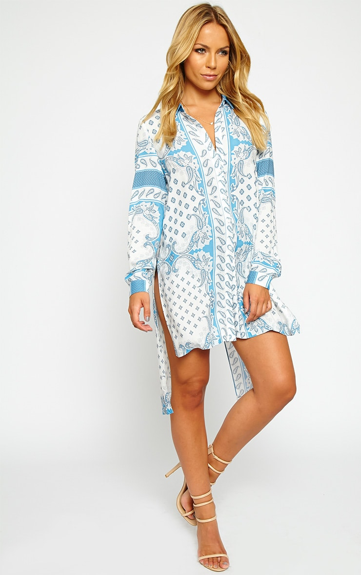Katrina White Paisely Print Shirt Dress 3