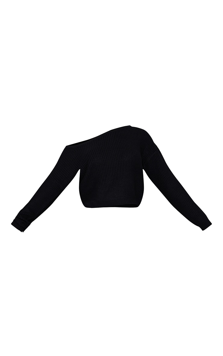 Black Off The Shoulder Knitted Sweater 5