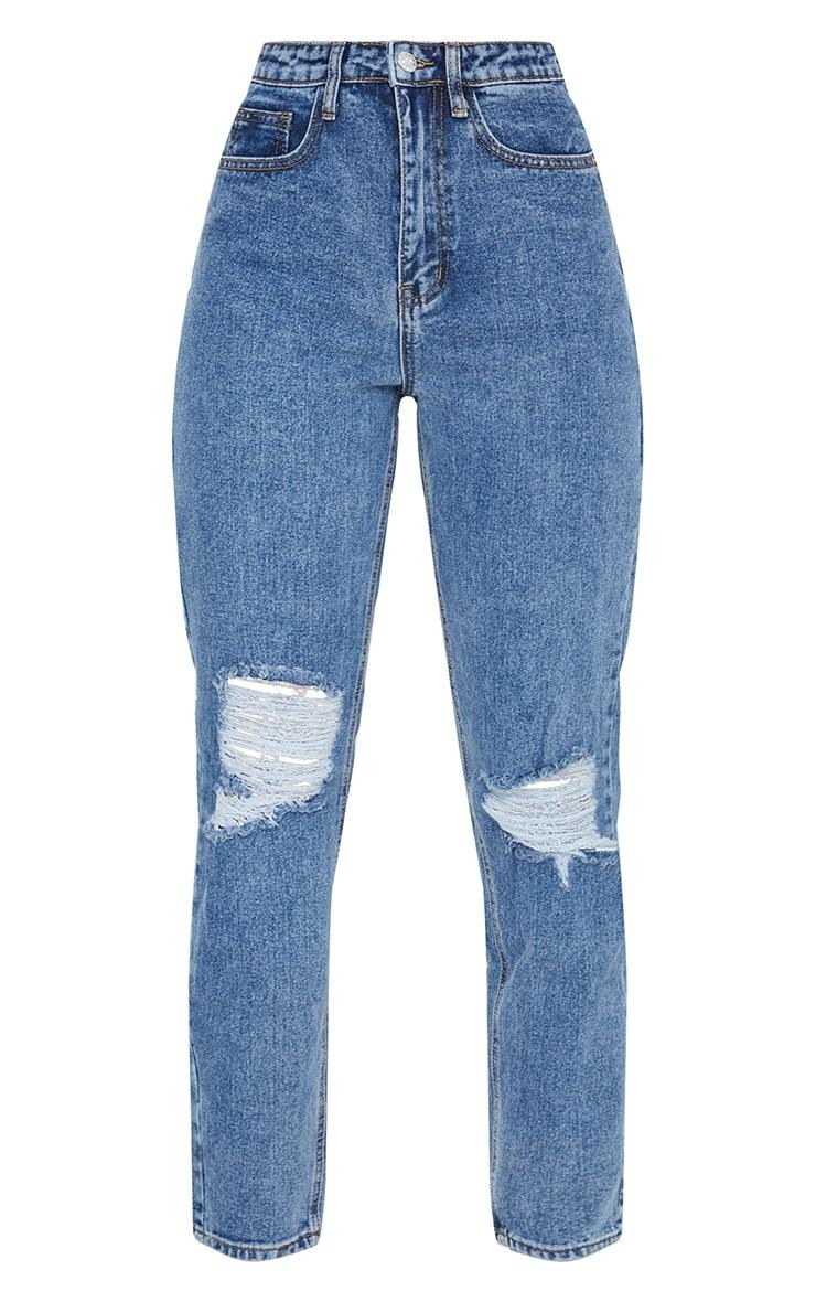 بنطلون جينز مُصمم بقصة موم ومُمزق الركبة باللون الأزرق الداكن من بريتي ليتل ثينج 5