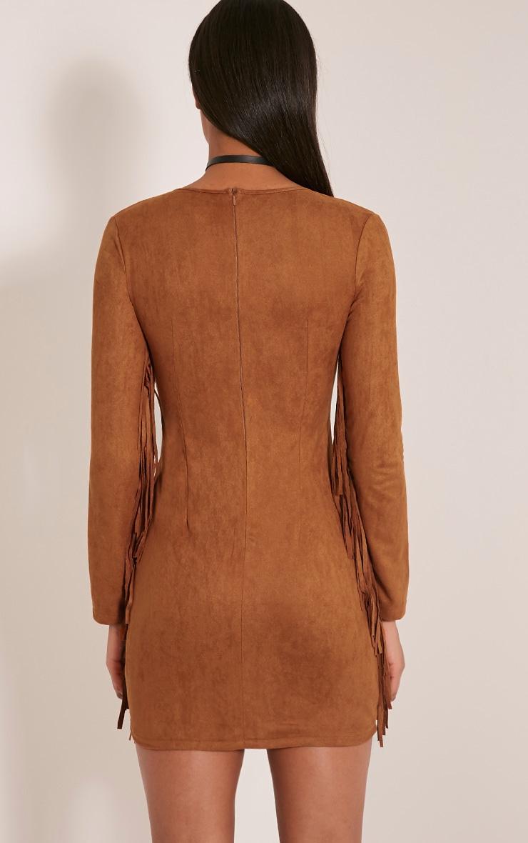 Cherri Tan Suede Lace Up Fringe Bodycon Dress 4