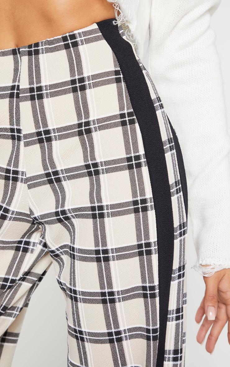 Stone Check Wide Leg Side Stripe Trouser 5