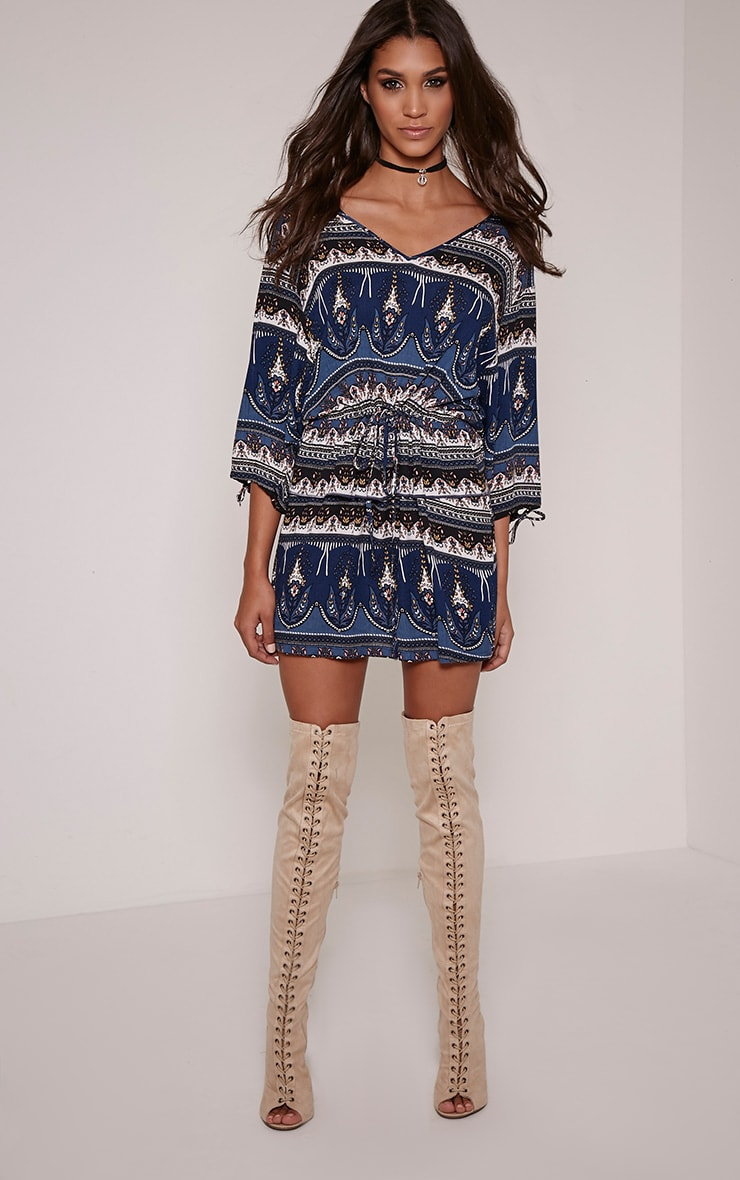 Zelle Navy Aztec Tunic Dress 1