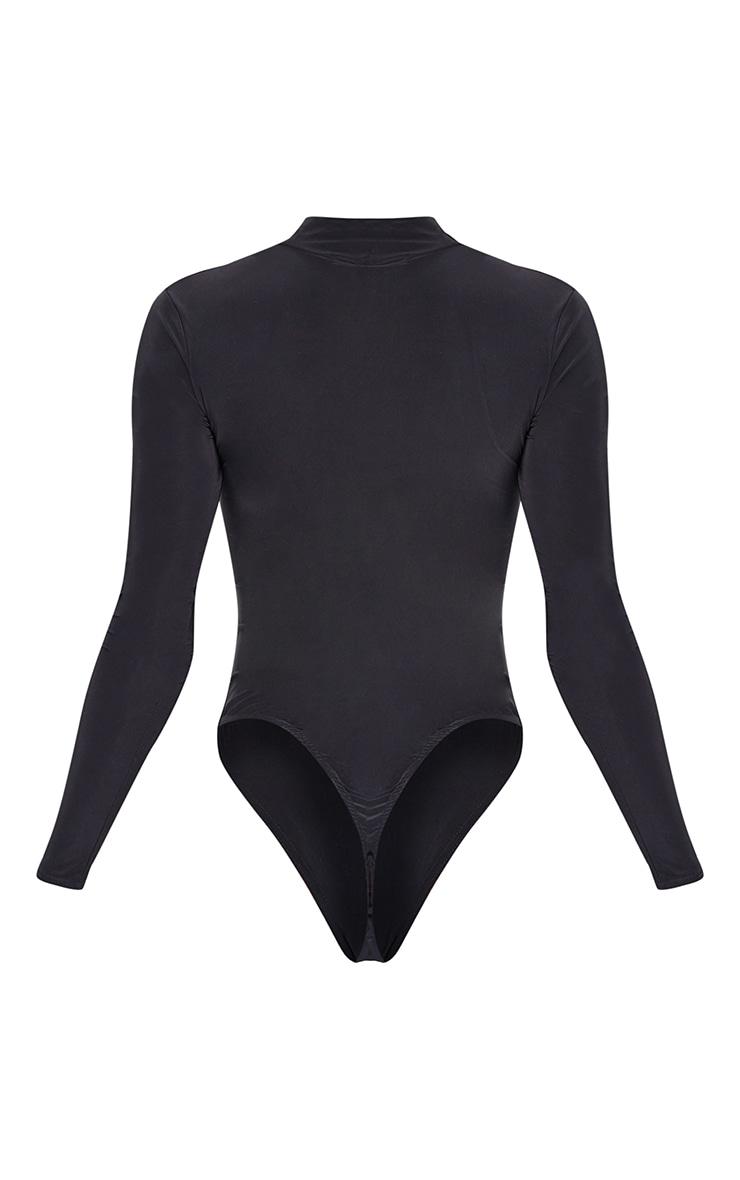 Tall Black Jersey Draped High Neck Bodysuit 5