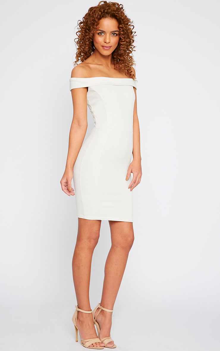 Alyssa Cream Textured Bardot Mini Dress 3