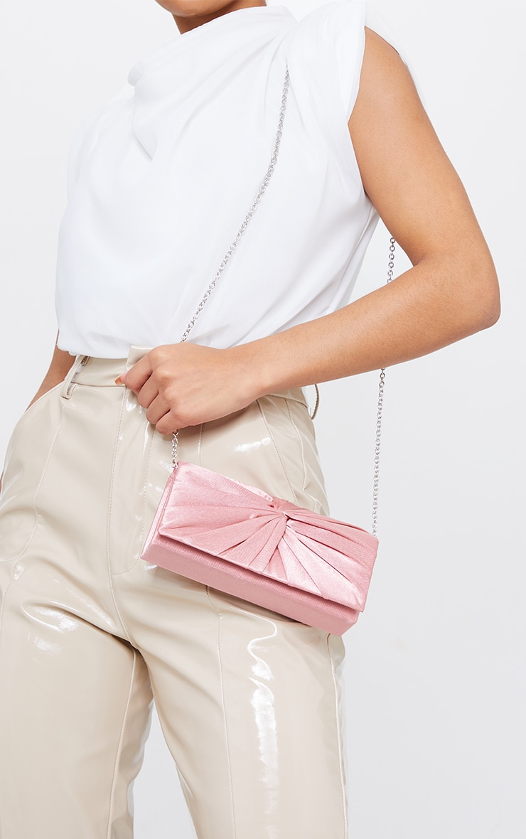 Pink Satin Ruched Knot Clutch 1