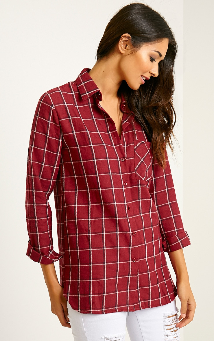 Mariel Wine Checked Shirt 4
