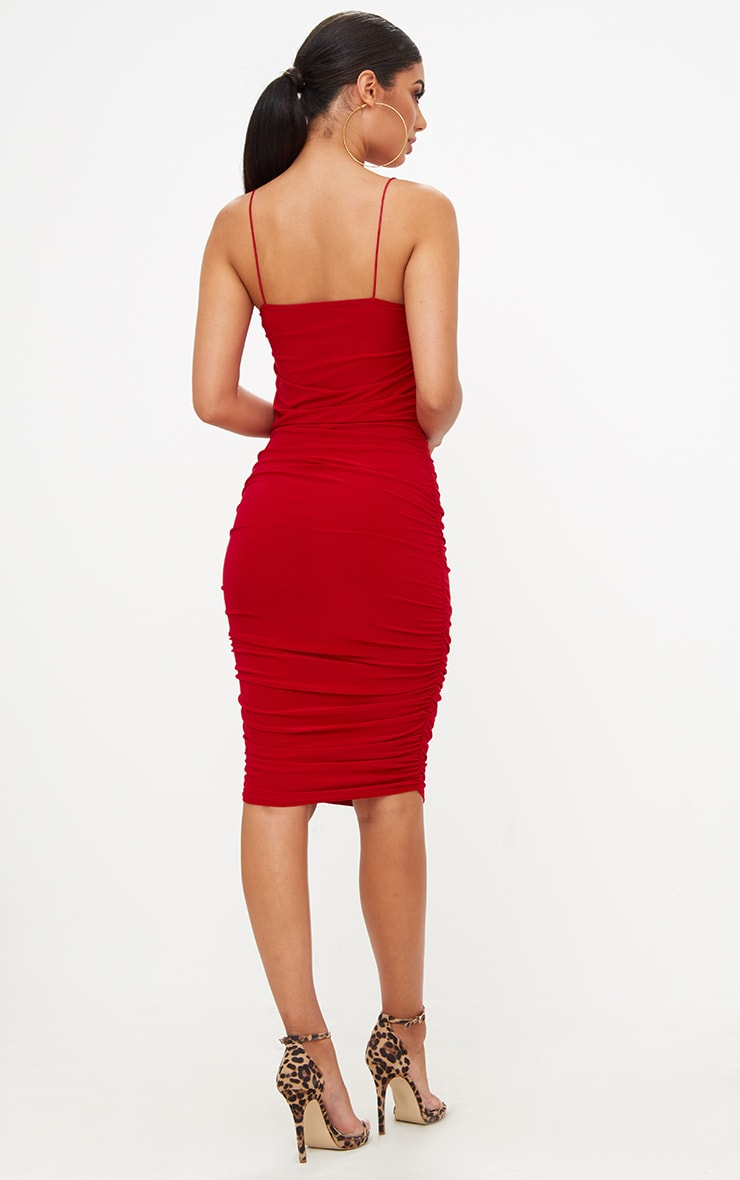 Red Slinky Ruched Midi Dress 2