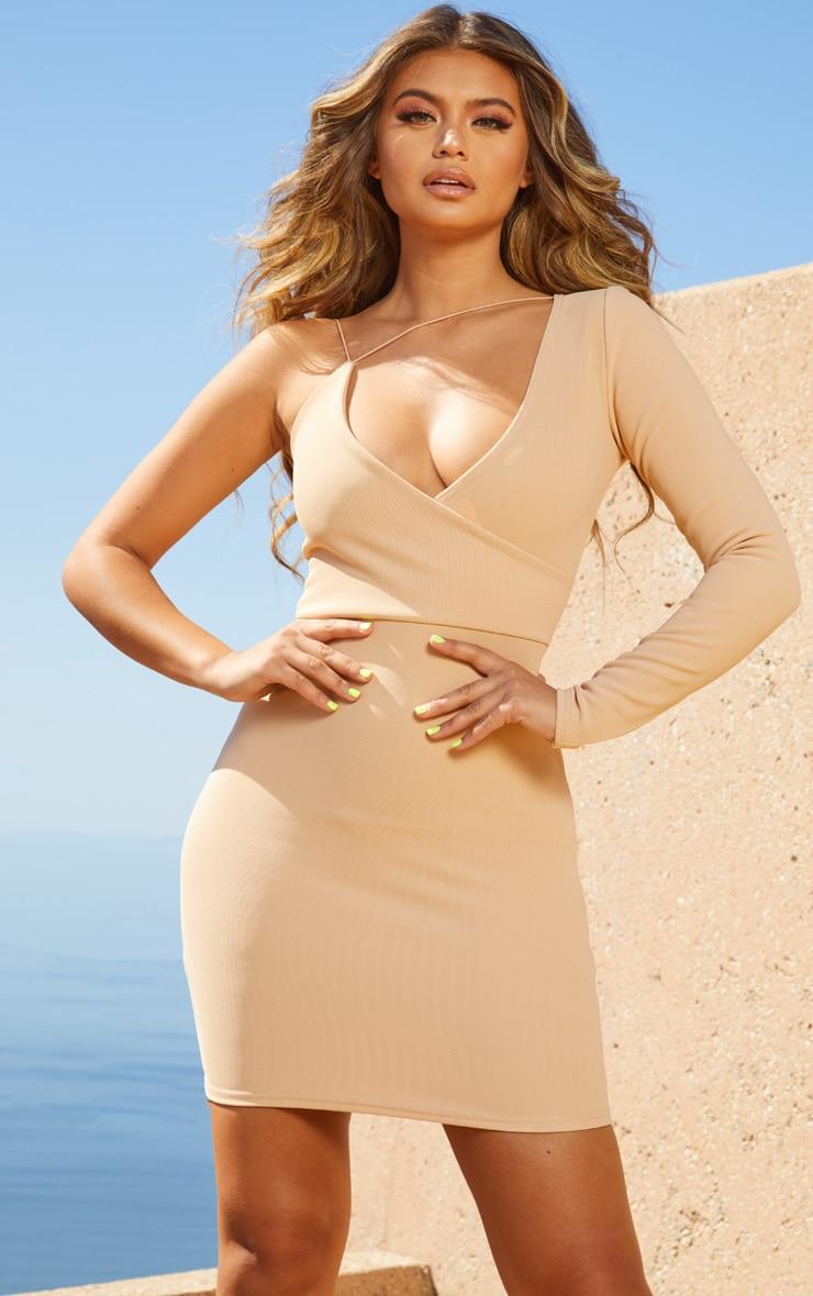 Nude Second Skin Asymmetric Strap Bodycon Dress 1