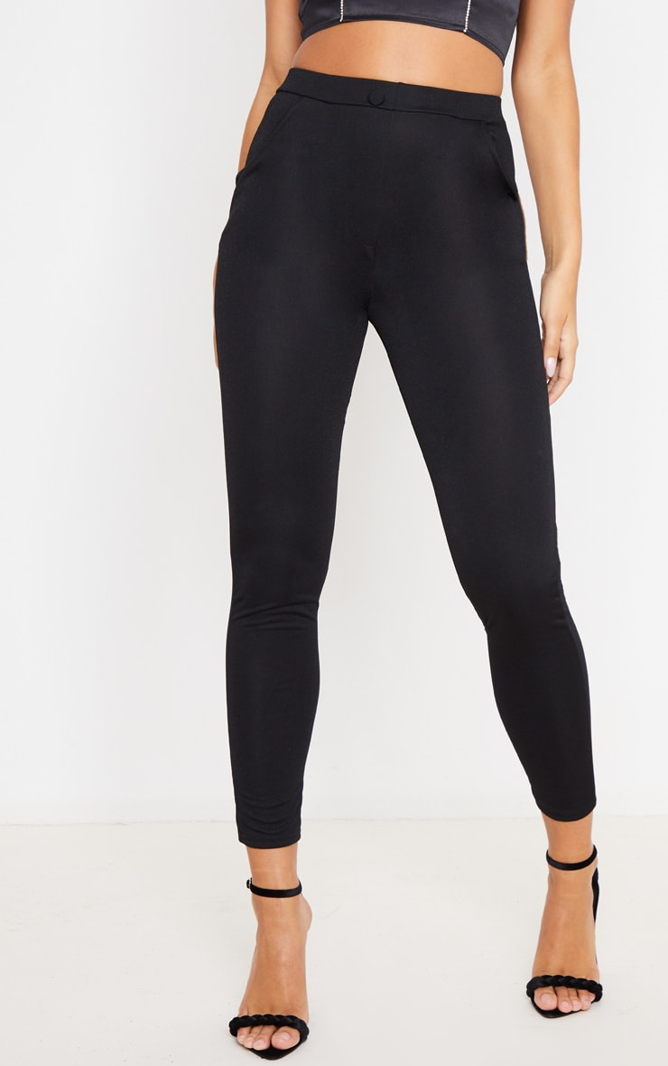 Black Crepe Button Front Skinny Pants 2