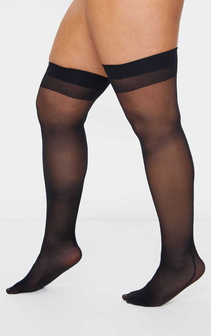 Plus Black Sheer Hold Up Stockings 2