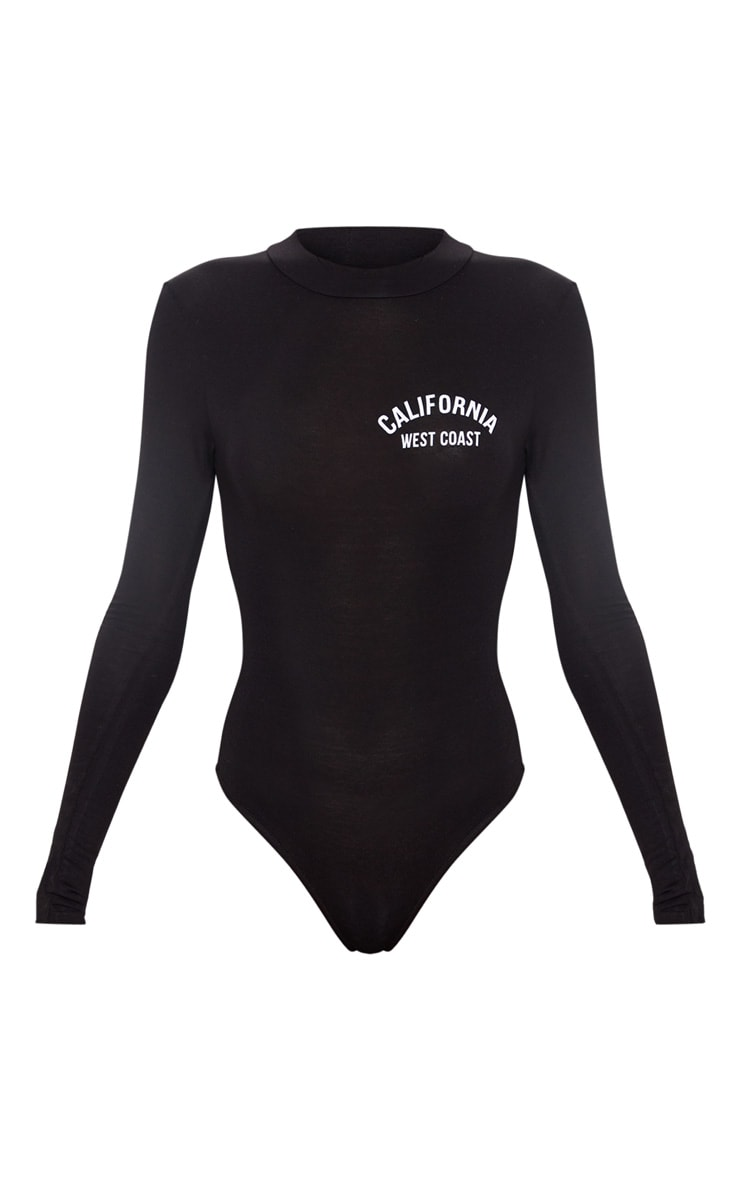 Black California Slogan Long Sleeve Bodysuit 3