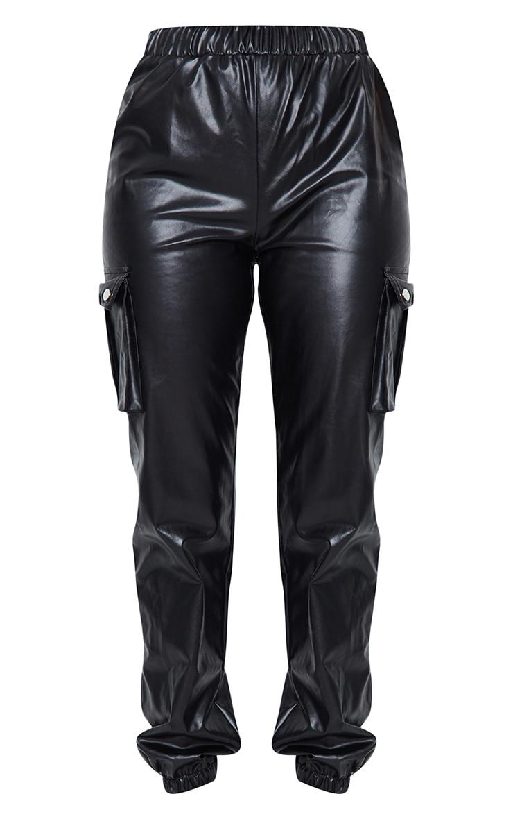 Black Faux Leather Cargo Pants 5