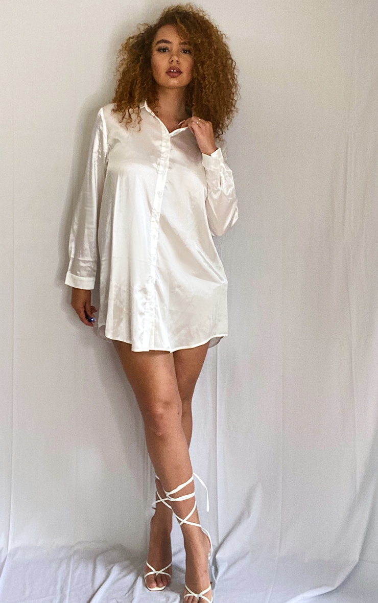 Plus Cream Satin Button Front Shirt Dress 3