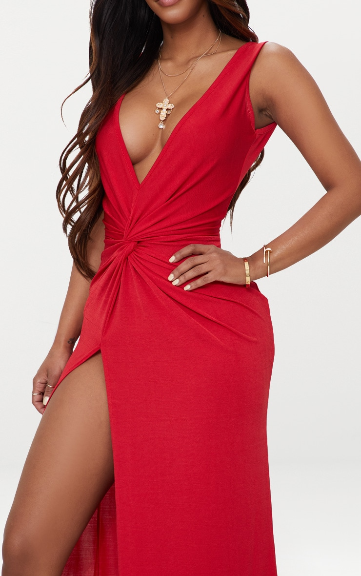 Shape Red Slinky Wrap Detail Maxi Dress 4
