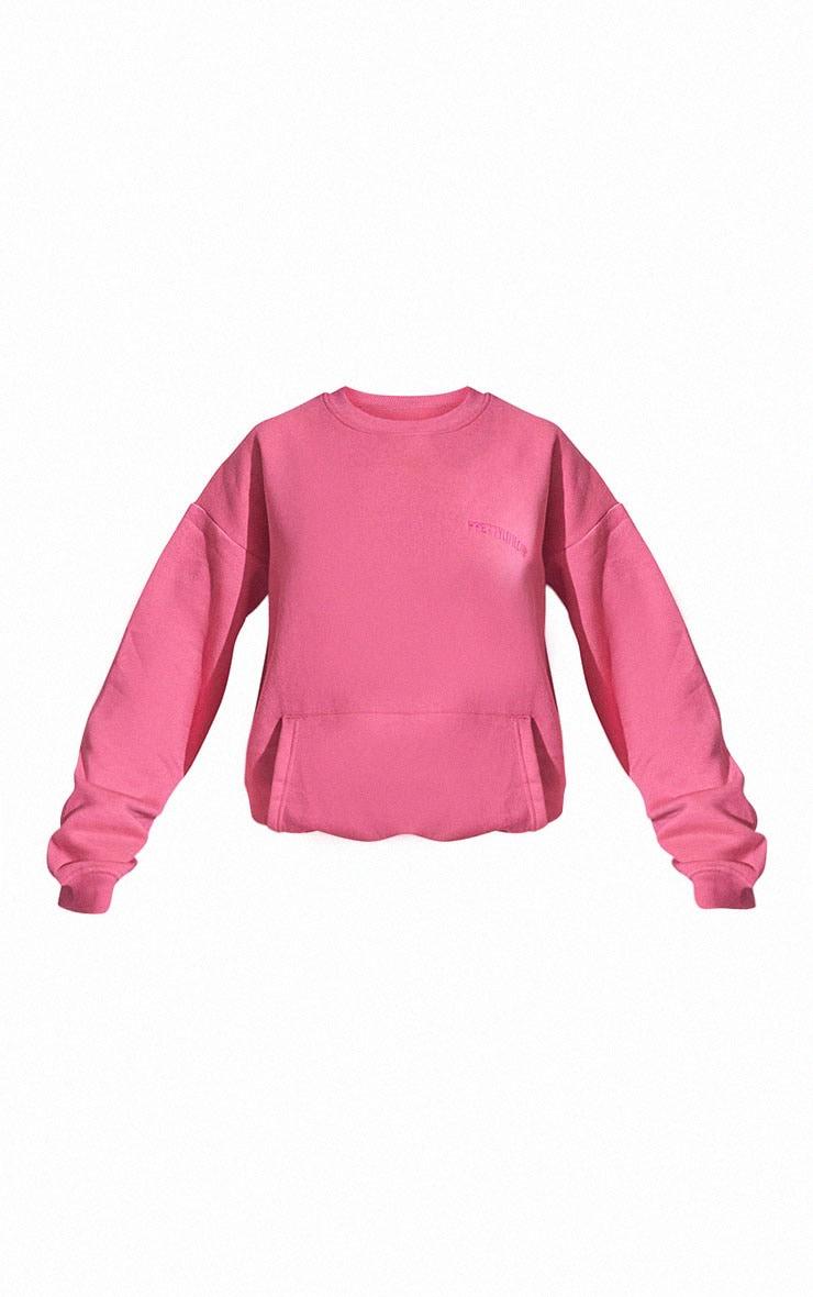 RENEW PRETTYLITTLETHING Pink Oversized Pocket Front Sweatshirt 5