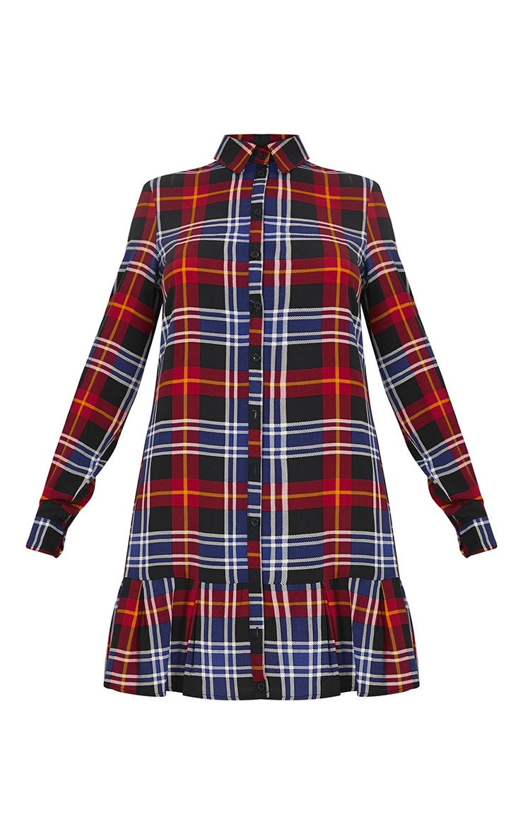 Liana Red Checked Shirt Dress 3