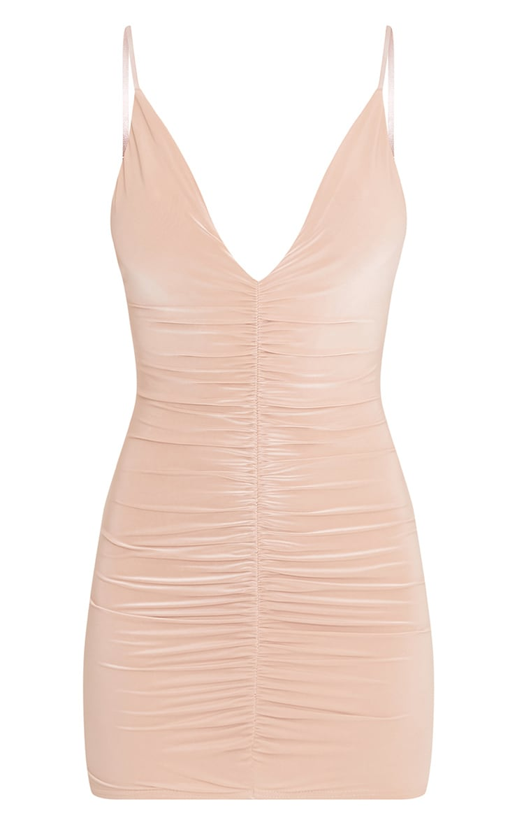 Evangeline Nude Slinky Ruched Plunge Bodycon Dress 3