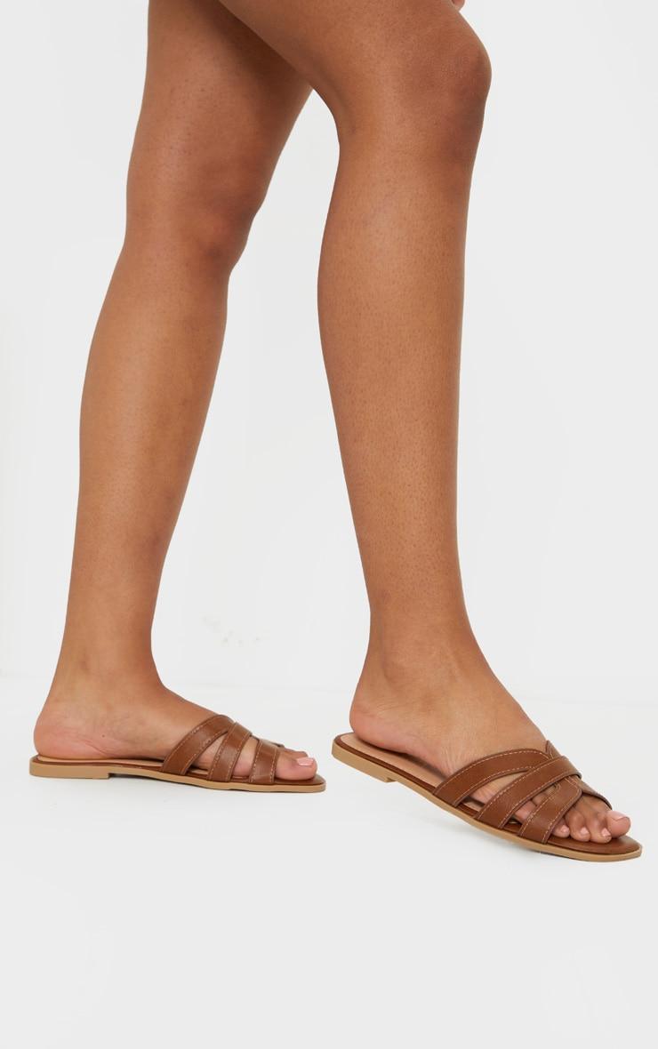 Tan Wide Fit Cross Strap Mule Flat Sandals 2