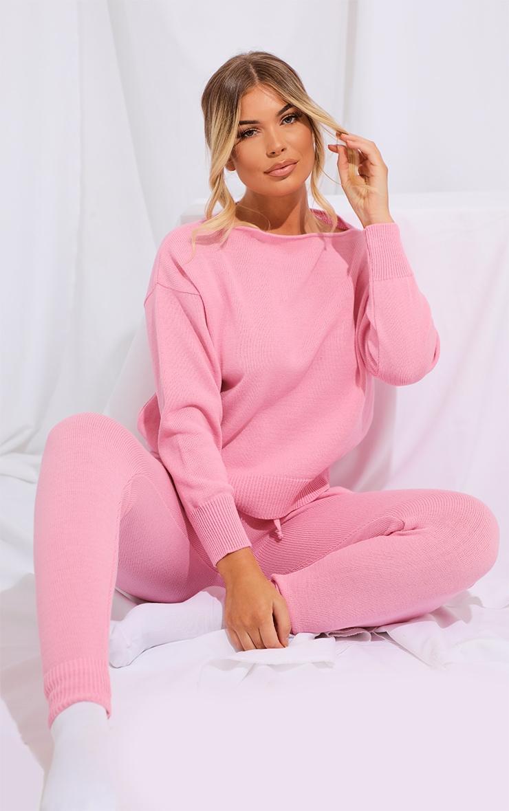 Pink Slash Neck Knitted Set 1