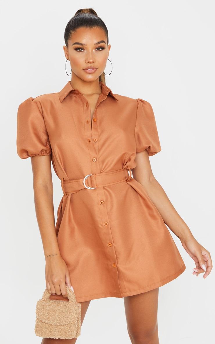 Terracotta Puff Sleeve Belted Shirt Dress 4