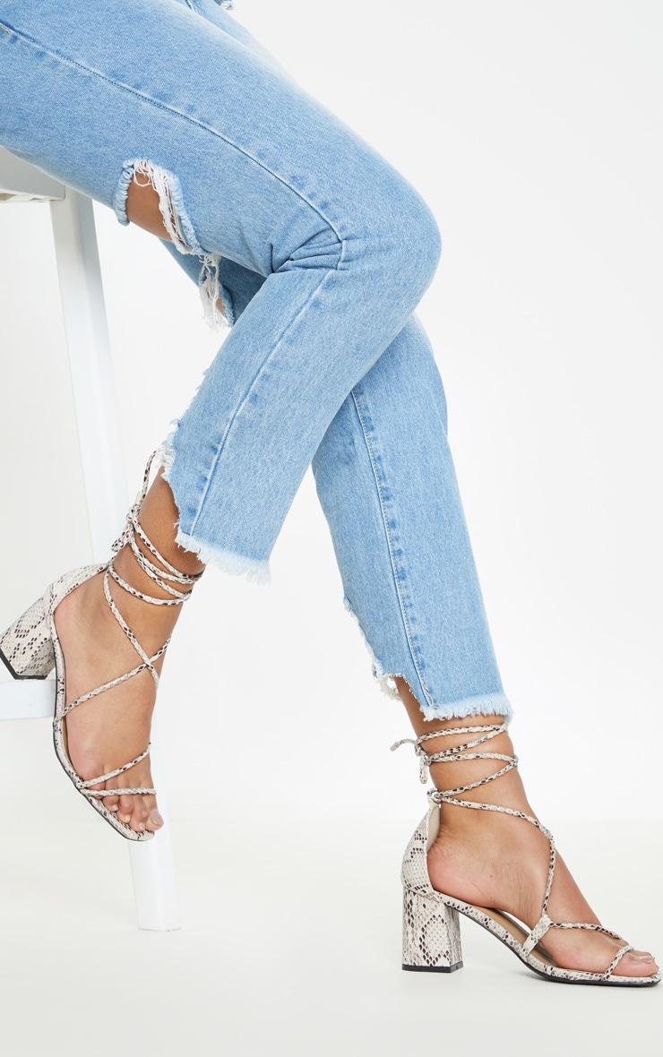 Snake Block Heel Sandal 3
