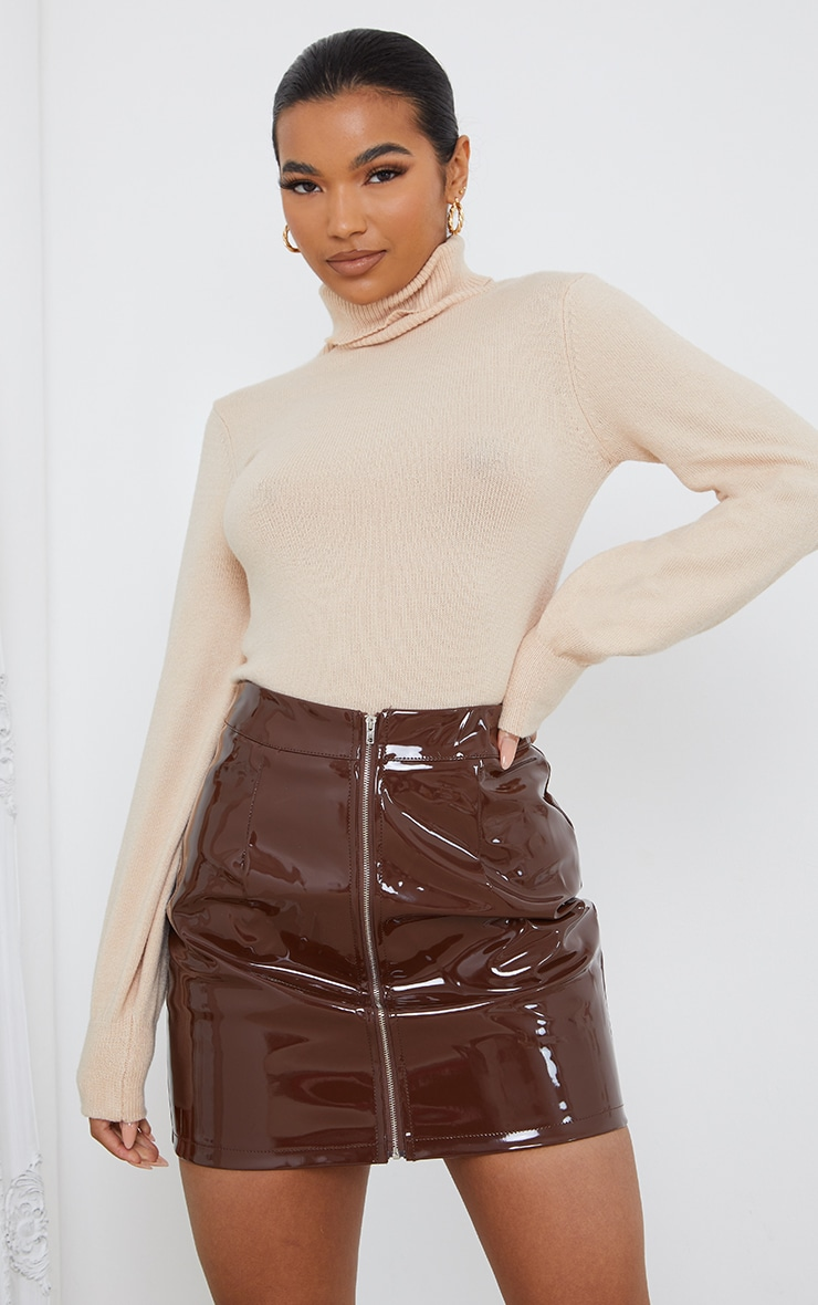 Chocolate Vinyl Mini Skirt 3