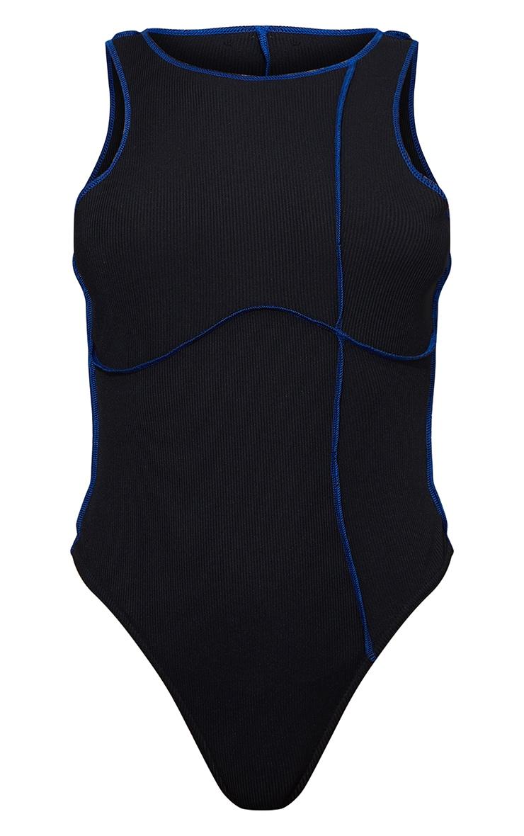 Black Rib Contrast Stitch Racer Neck Bodysuit 5