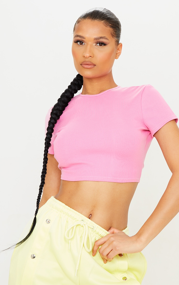 Pink Rib Backless Tie Cut Out Crop Top 2