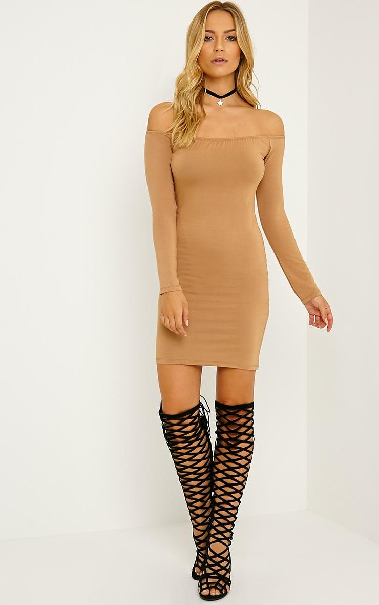 Carina Camel  Bardot Mini Dress 3